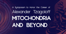"""Purple banner: """"A Symposium to Honor the Career of Alexander Tzagoloff: MITOCHONRIA AND BEYOND"""""""