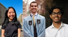 Bridges and Sturtevant winners, from left to right: Christina Lee, Jacob Dahan, and Jason Mohabir.