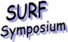 "photo displaying ""SURF Symposium"" in black and purple font"